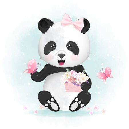 Cute panda with butterfly and flower basket hand drawn animal watercolor illustration Illusztráció
