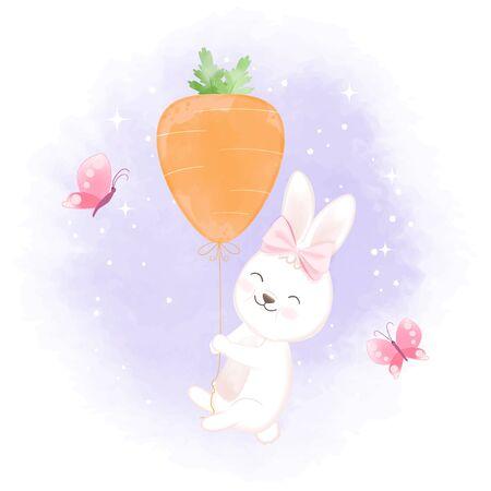 Cute rabbit with carrot balloon, hand drawn cartoon watercolor illustration Illusztráció