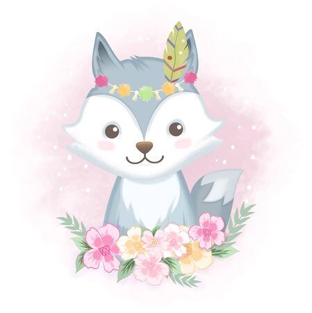 Cute fox with flowers, hand drawn animal watercolor illustration