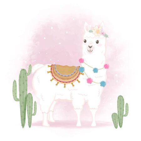 Cute Llama and cactus, hand drawn cartoon watercolor illustration Illusztráció