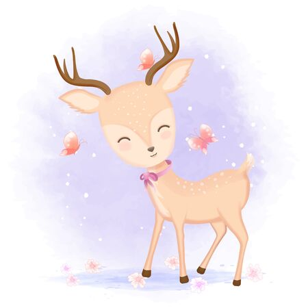 Cute deer with butterflies hand drawn cartoon animal illustration watercolor background