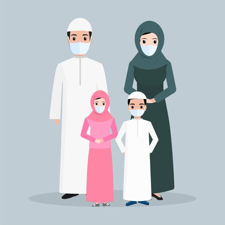 Muslim people wearing face mask icon, Arabic people icon illustration
