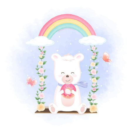 Cute bear holding donut on swing and butterflies hand drawn cartoon illustration