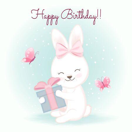 Birthday card with rabbit and gift, hand drawn cartoon watercolor illustration Çizim