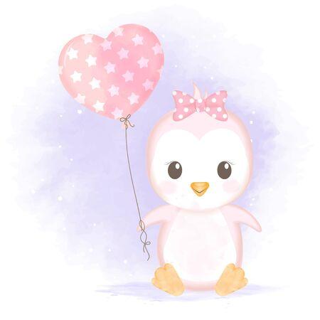 Cute baby penguin with balloon hand drawn cartoon  watercolor illustration Çizim