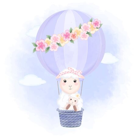 Baby sheep and mom floating on hot air balloon hand drawn cartoon animal illustration