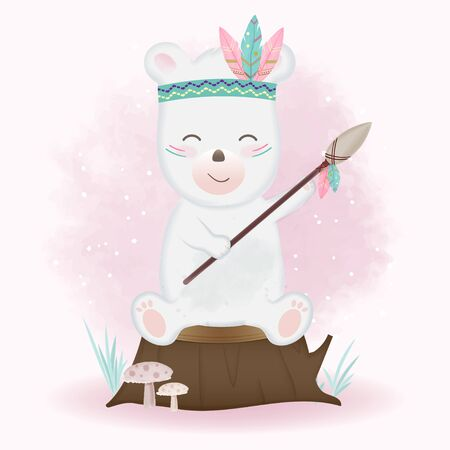 Cute tribal bear and holding spear hand drawn cartoon animal watercolor illustration