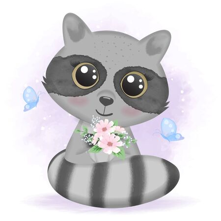 Cute baby raccoon with butterflies and floral, hand drawn cartoon animal illustration