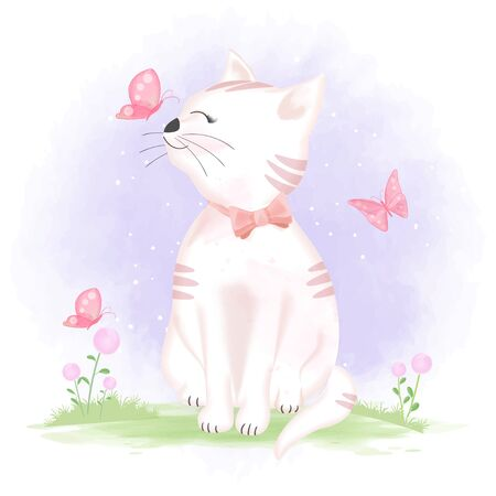 Cute cat and butterflies, hand drawn cartoon animal illustration