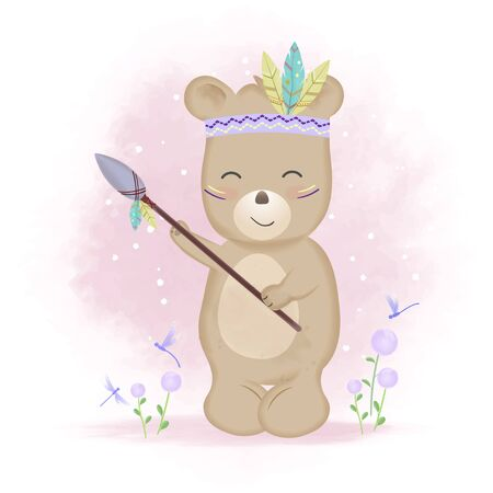 Cute tribal bear holding spear and butterflies hand drawn cartoon animal watercolor illustration 일러스트