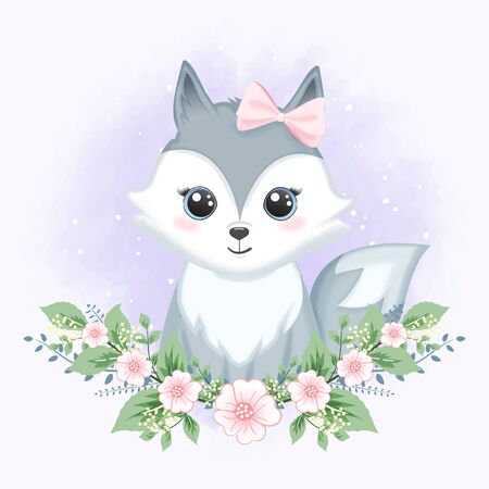 Cute baby fox with flower hand drawn cartoon animal watercolor illustration 일러스트