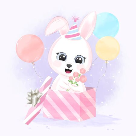Cute baby rabbit in gift box and balloons hand drawn cartoon animal illustration