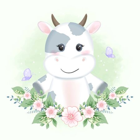 Cute baby cow and butterflies with flower hand drawn cartoon animal watercolor illustration
