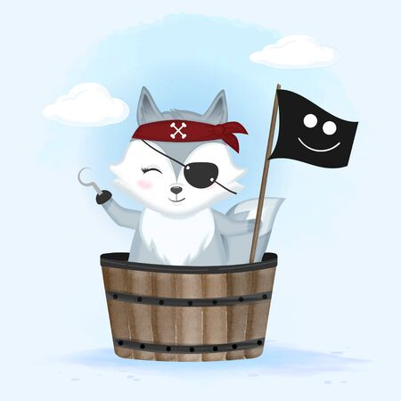 Cute pirate fox in wooden bucket hand drawn cartoon animal watercolor illustration