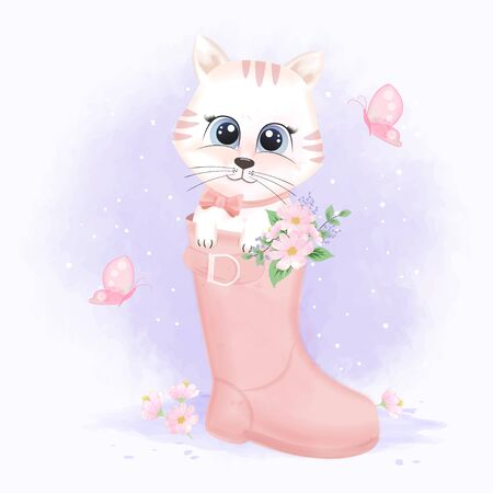 Cute cat in boot shoe and butterflies, hand drawn cartoon animal illustration