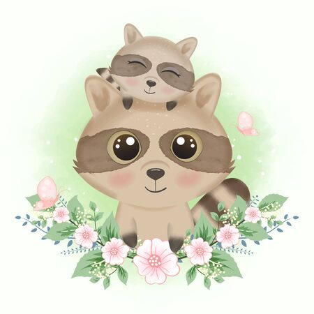 Cute raccoon and butterflies with flower hand drawn cartoon animal watercolor illustration 矢量图像
