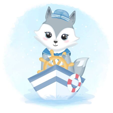Cute fox sailor driving boat and swim ring hand drawn cartoon animal watercolor illustration