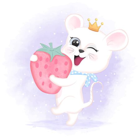 Cute baby mouse and strawberry hand drawn cartoon animal watercolor illustration 일러스트
