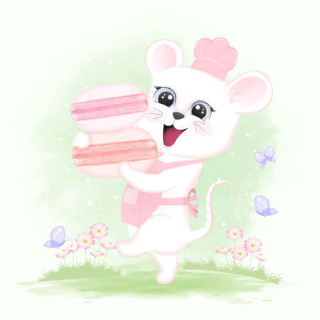 Baby Mouse with Macarons and cosmos flowers hand drawn cartoon animal watercolor illustration