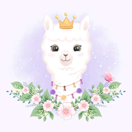 Cute Little Llama and butterfly hand drawn cartoon illustration