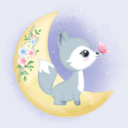 Cute Baby Fox on the moon hand drawn cartoon animal watercolor illustration