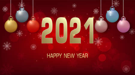 Happy New year 2021 and ball decoration illustration on blue background 일러스트