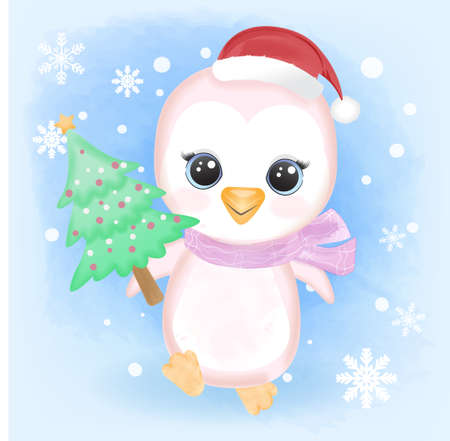 Cute Baby Penguin holding pine tree and snowflake cartoon hand drawn watercolor illustration
