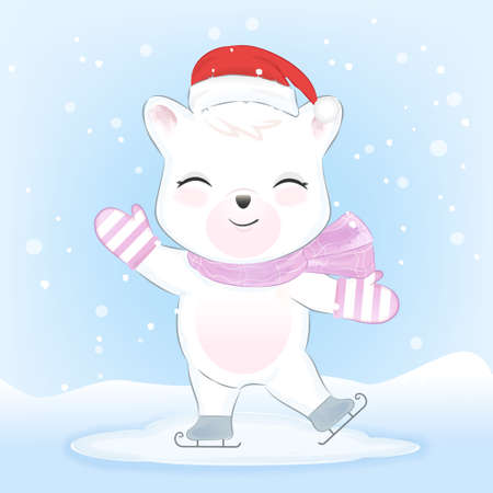 Polar Bear on ice skates in snow hand drawn watercolor style, Christmas, winter season concept 일러스트