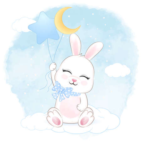 Cute Bunny holding and balloons on the cloud hand drawn cartoon animal watercolor illustration