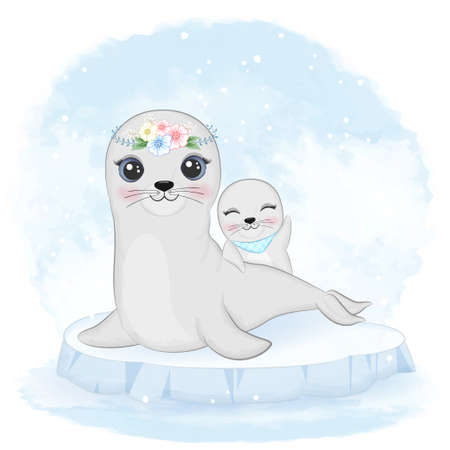 Cute baby seal and mom on ice floe cartoon animal watercolor illustration