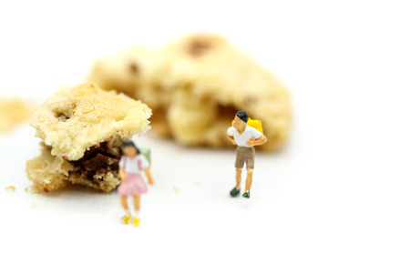 Miniature people : children and student  with cookies,play and education concept.