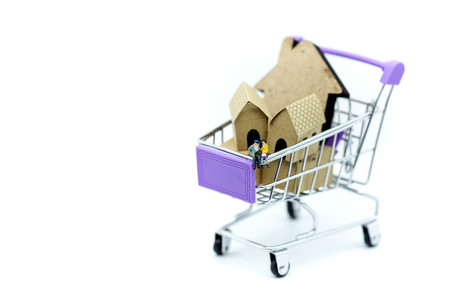 Miniature people : Couple sitting on Shopping Cart with mini house toy.