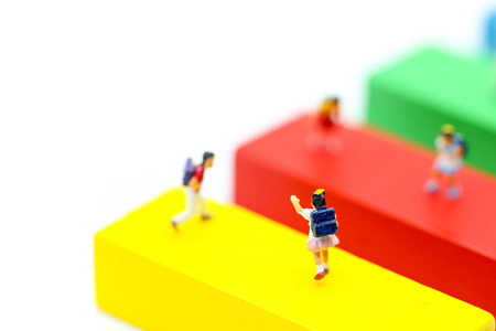 Miniature people : children and student with toys and school background. Back to school,Education concept. Stock Photo