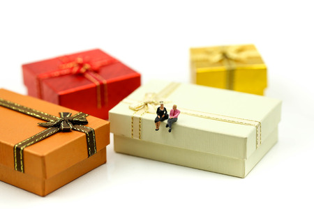 Miniature people : couple of love with Christmas gift box using for concept of Holiday greeting card.