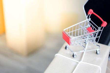 Shopping cart  online marketing packaging with Start up small business entrepreneur SME,Online shopping ecommerce delivery  service concept.