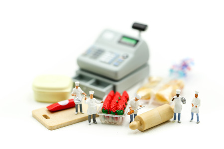 Miniature people : Chef with market,cooking concept.