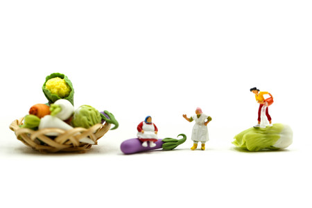 Miniature people : Wifehouse woman's Sell Harvest Products Farm Assortment of fresh fruits and vegetables Market Seasonal Sale.