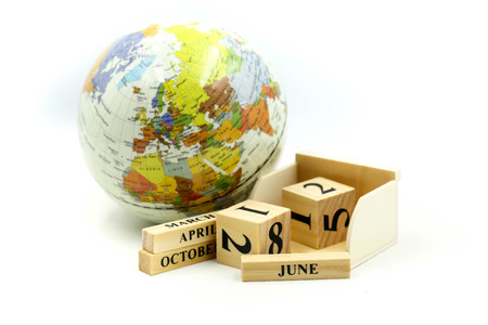 Wooden block calendar date and mounth with miniworld.