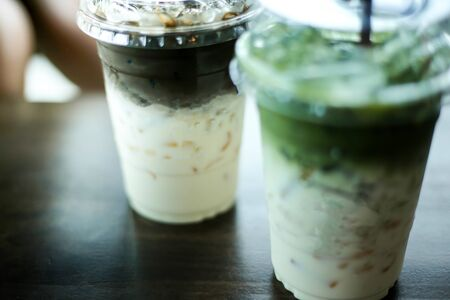 Selective of focus ice cappuccino coffee and matcha green tea frappe,drink concept. Archivio Fotografico - 132676147