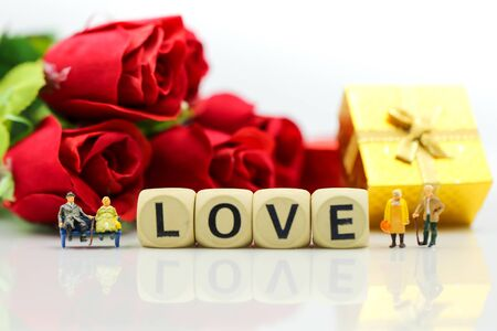 Miniature people : Couple lover and Love text wooden blocks with rose and gift box, Lover concept. Archivio Fotografico - 133955962