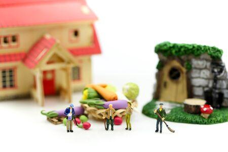 Miniature people : Farmer gardener in action with market, Farm Local Market Concept. Archivio Fotografico - 133956343