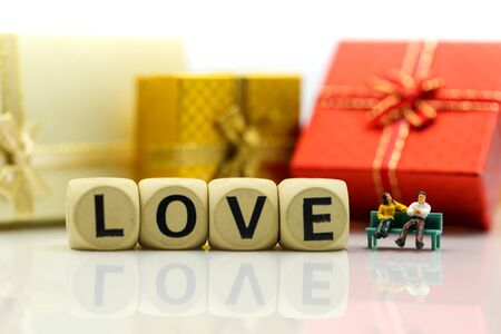 Miniature people : Couple lover and Love text wooden blocks with rose and gift box, Lover concept. Archivio Fotografico - 133956102