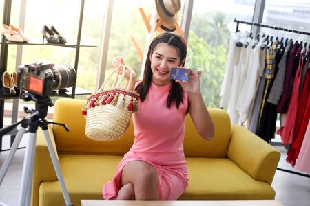 Asian woman beauty blogger or vlogger review
