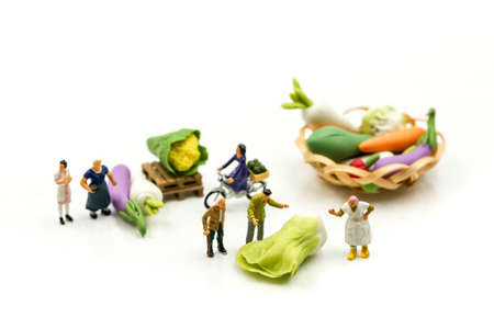 Miniature people : Farmer with agricultural product at farmer market Standard-Bild