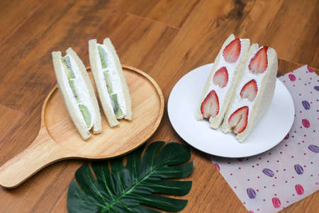 Strawberry and kiwi cream sandwich,Japanese style sweet sandwiches.