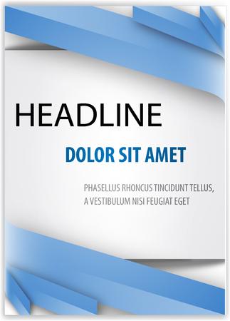 本カバー プレゼンテーション抽象的な幾何学的な青い線背景と白正方形レポート パンフレット デザイン テンプレート レイアウトの A4 サイズ  イラスト・ベクター素材