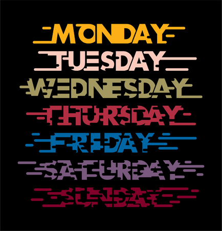 weekly: monday until sunday with colour of a day