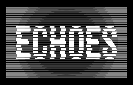 echoes text typography was sliced into pieces and line t-shirt design