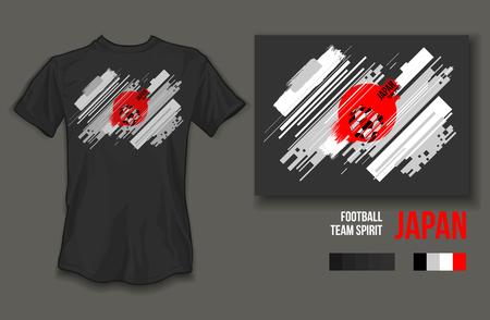 t-shirt design japan team spirit football sports wear on gray background and gray t-shirt