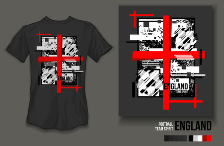 t-shirt design england team spirit football sports wear on gray background and gray t-shirt